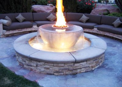 Stone Fire Pit & Water Feature