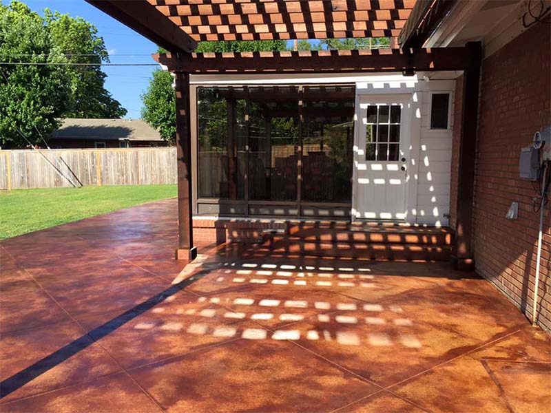 Stained Concrete Patio & Pergola