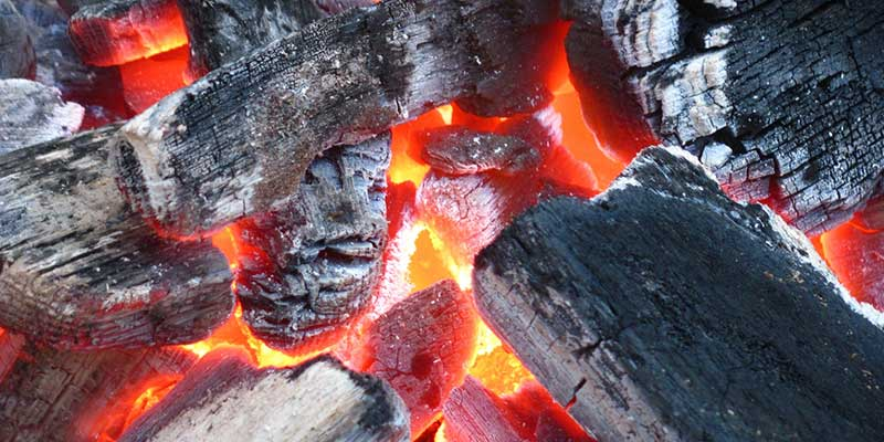 Lump Charcoal on Grill