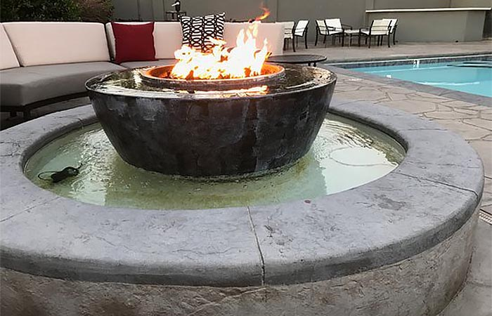 Build a Fire Pit With Water Feature